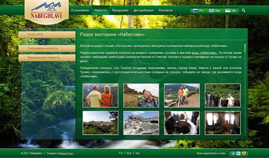 Дизайн, разработка и создание сайта Минеральная вода Набеглави - 1