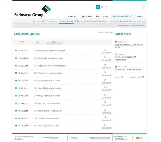 Дизайн, разработка и создание сайта Компания Sadovaya Group - 2