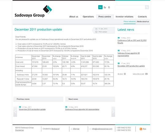 Дизайн, разработка и создание сайта Компания Sadovaya Group - 4